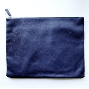 Large Blue Faux-Leather Laptop Clutch Forever 21